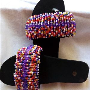 Shoes - Hand beaded summer slippers